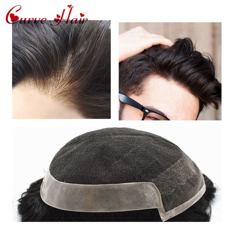 Black Human Hair Mens Toupee French Lace Front Wig For Men Skin Hairpiece 1B# Medium Density Hair System OCT