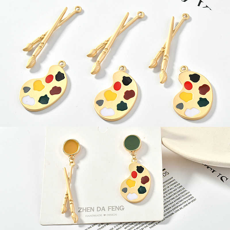 4pcs Alloy brush palette gold personality pendant diy earring accessories material accessories.
