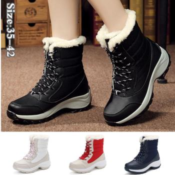 Women's Snow Boots Fashion Winter Warm Shoes Casual Thick Cotton Mid Heel Waterproof Ankle Boots haraval handmade winter woman long boots luxury flock round toe soft heel shoes elegant casual warm retro buckle solid boots 289
