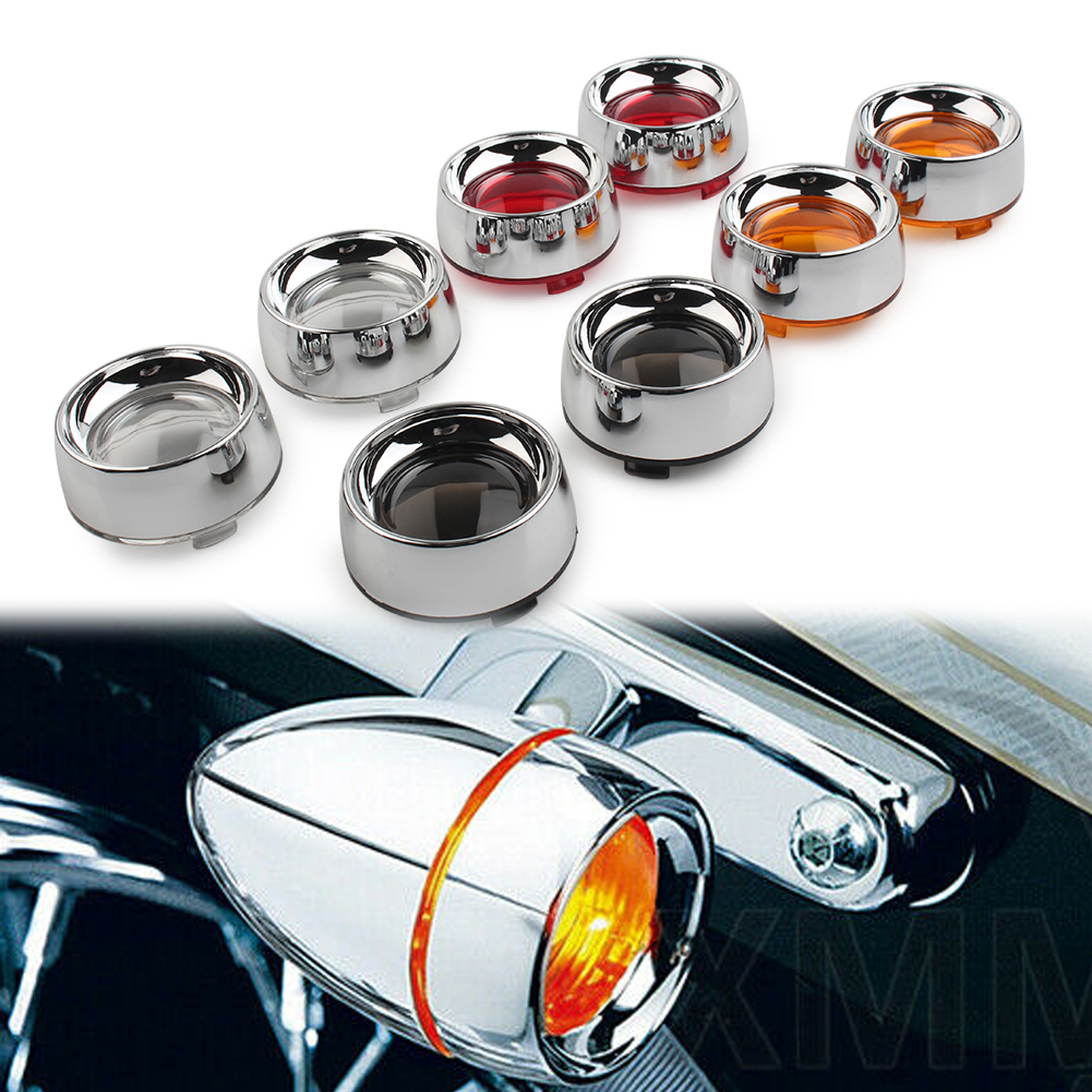 Motorcyle Turn Signal Amber Lens Chrome Trim Ring Bezels Visor For Harley Sportster XL1200 XL883 Touring Dyna Softail 2Pcs