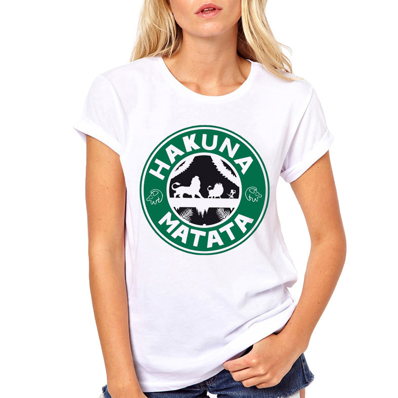 <font><b>Women</b></font> Clothes Coffee Hakuna Matata <font><b>Lion</b></font> <font><b>King</b></font> Printed Cartoon Fashion Ladies Woman Harajuku Top Tee <font><b>Shirt</b></font> <font><b>T</b></font> Female <font><b>T</b></font>-<font><b>shirt</b></font> image