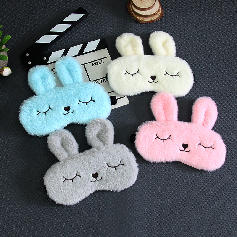 Plush Bunny Eye Cover Sleeping Eye Mask Funny 3D Silk Sleep Mask Travel Eye Band Shade Rest Eyepatch Sleep Aid Eye Blindfolds