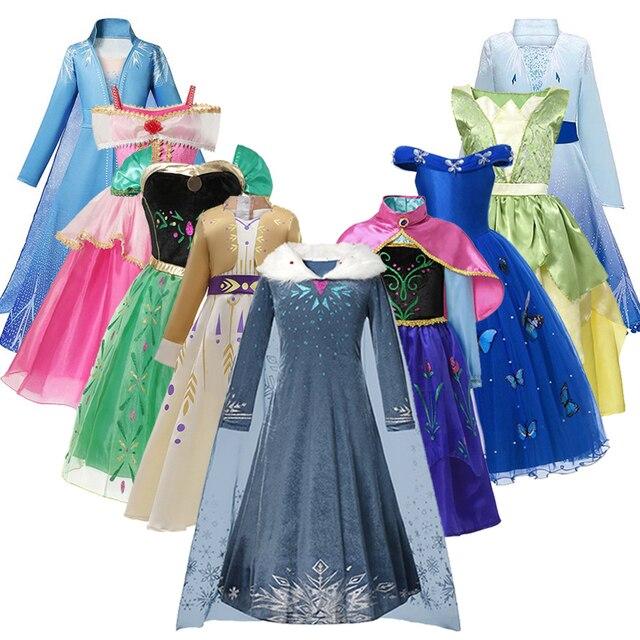Anna Dress Girls Elza 2 Cosplay Costume For Kids Princess Dresses Sleeping Beauty Mermaid Snow White Halloween Party Fancy Vesti