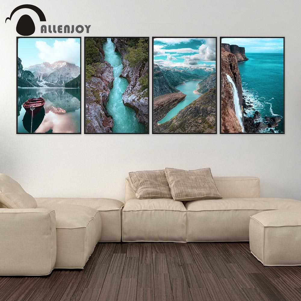 Allenjoy Nordic Pictures Beach Alps Wooden Boat Mountains Seascape Canvas Paintings Scandinavian Landscape Living Room Posters