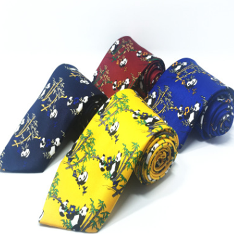 Fashionable New Style Men Ties 8cm Polyester Arrow Regalos Para Hombre Chinese Style Panda Printed Wide Casual Tie