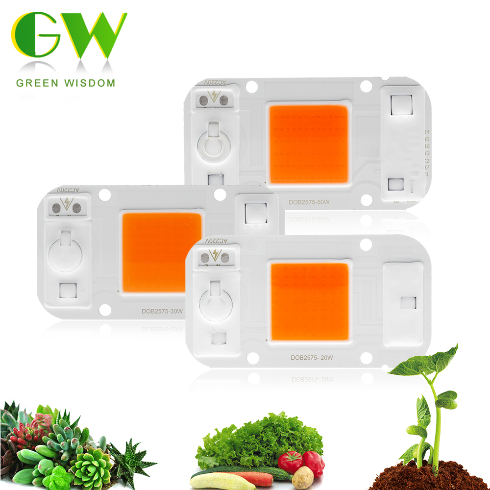 LED COB Chip For Plant Grow Light 220V 20W 30W 50W Full Spectrum LED Phyto Lamp Chip For Indoor Plant Seedling And Flower Growth