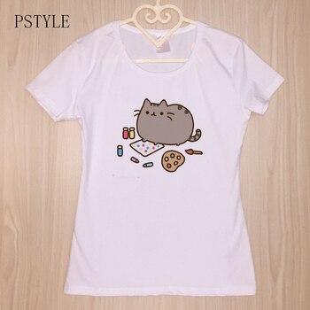 Funny Cartoon Cats Print Women T Shirt Summer Short Sleeve O-Neck Casual White T Shirts Kawaii Harajuku Graphic Tees Women