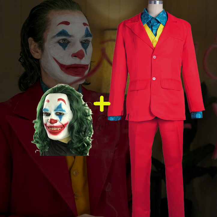 Joker 2019 Joaquin Phoenix Arthur Fleck Cosplay Costume Movie Party Carnival Adult Costume Batman Clown Mask Cosplay Outfit Suit