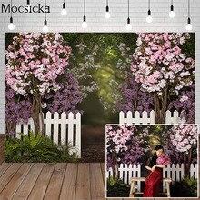 ฤดูใบไม้ผลิฉากหลัง Dream กลับ Garden ดอกไม้สดต้นไม้รั้วสีขาวเด็กเด็กวันเกิดถ่ายภาพพื้นหลัง Photo Studio