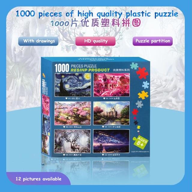 $ US $16.99 Plastic Jigsaw Puzzles 1000 Pieces Puzzle Toys Landscape puzzle Painting Puzzle for Adults Kids DIY Puzzle Games