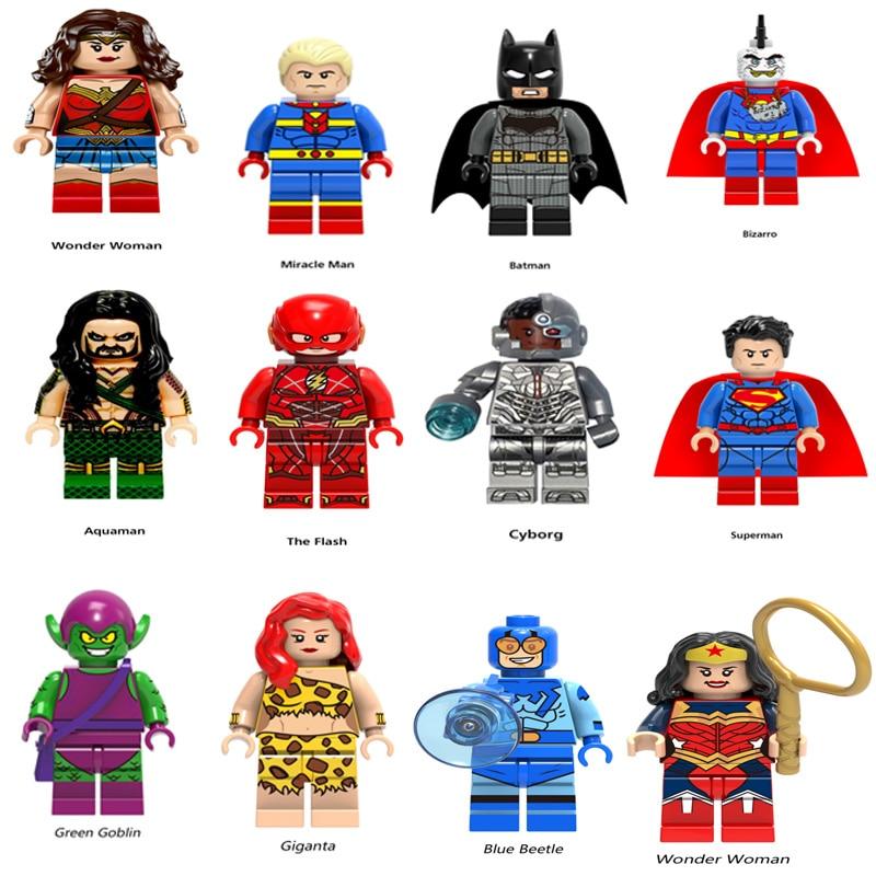 Legoingly Super Heroes Figure Mini Avengers Marvel DC Figures Wonder Woman The Flash Ironman Bizarro  Aquaman Cyborg Kids Toys