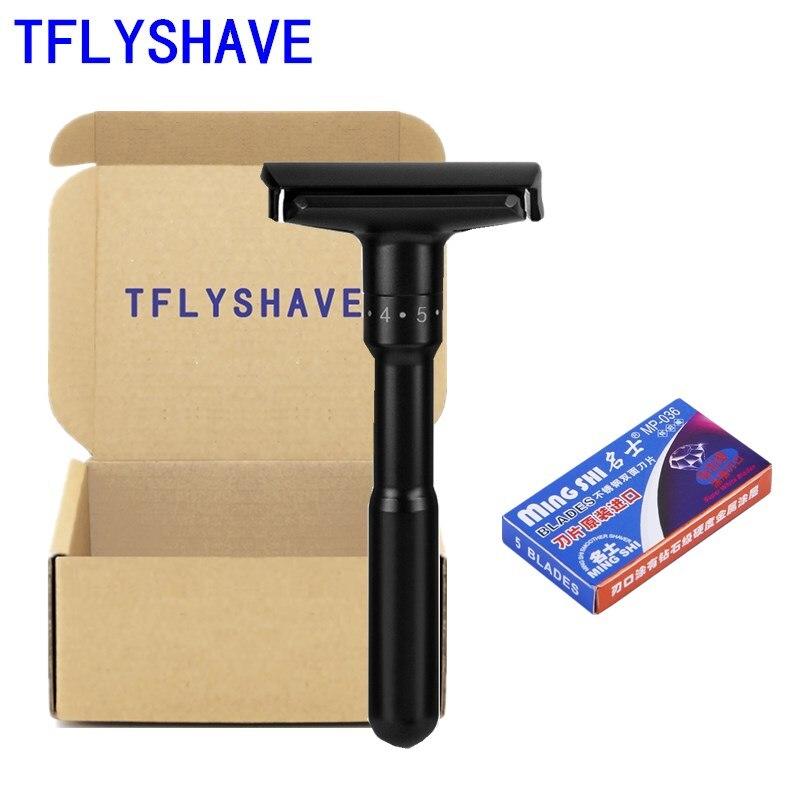 TFLYSHAVE Men Double Shaver Razor Luxurious Black Adjustable Safety Razor Classic Stand Safety Razor Men Shaving With 5 Blades