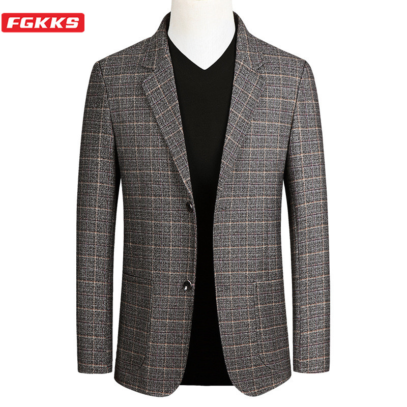 FGKKS Blazer Mens Striped British Stylish Male Blazer Suit Jacket Business Casual One Button Regular Blazer For Men