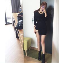 Корейская Стильная черная юбка на бедрах Асимметричная мини