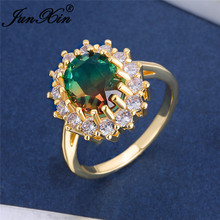 Oval Gradient Red Green Stone Sunflower Rings For Women White Yellow Gold Color Rainbow