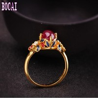 2019 New 925 sterling silver jewelry Thai enamel craft women's red treasure ring women's fashion silver ring ladies ring