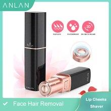 Anlan promoção feminino mini depilador elétrico feminino rosto batom forma shaver shaver lady removedor de cabelo ipx6 à prova dwaterproof água