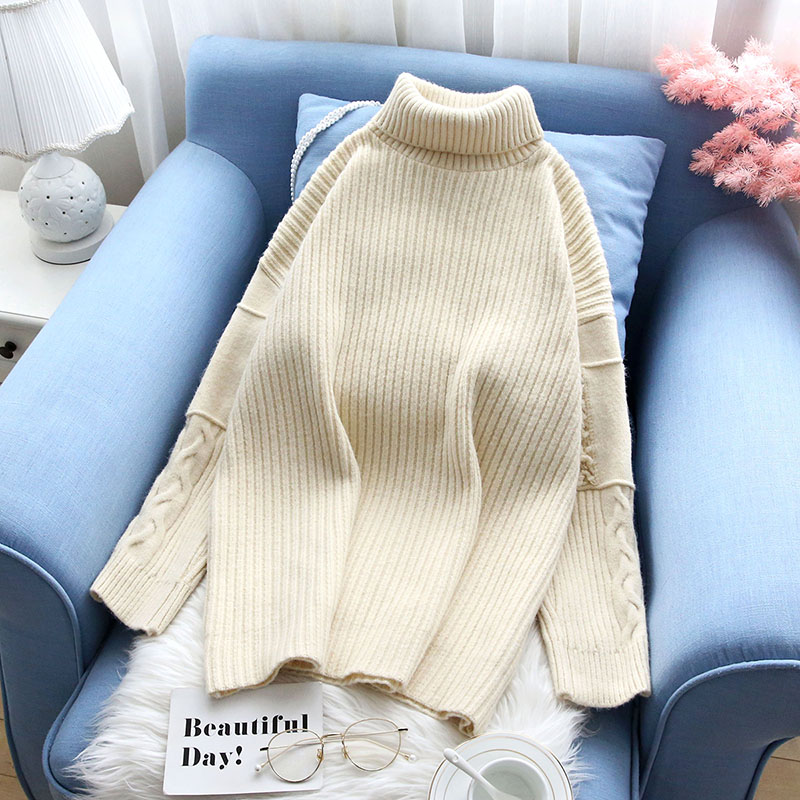 knitted turtleneck women sweater and pullovers solid slim loose thicken warm winter fashion pulls outwear coat tops
