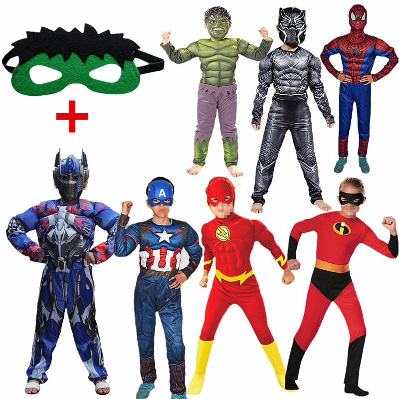 Boy & Girl The Flash Cosplay Costume For Kids Superhero Fancy Dress Fantasia Halloween Costume For Boys Muscle Clothing Mask