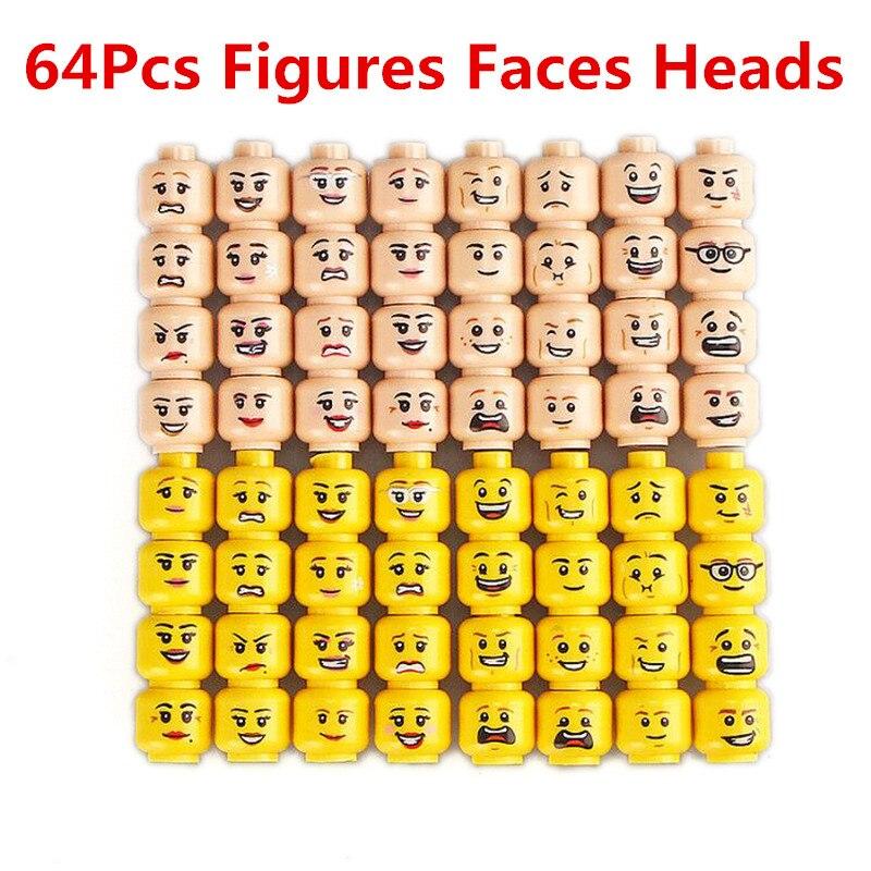 64pcs/set Legoings Figure Head Female Male Faces Building Blocks Set MOC Figures Accessories Model Bricks Kits Toys For Children