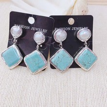 Natural Turquoise Pearl Stud Long Dangle Earring New Fashion Geometric Stone earring For Lady Woman 1pairs