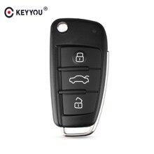 Keyyou 3 botão dobrável remoto flip caso chave do carro escudo fob para audi a2 a3 a4 a6 a6l a8 q7 tt chave fob caso substituição