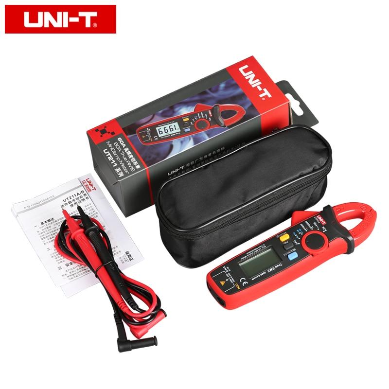 UNI T UT211B Misuratori digitali a pinza mini AC / DC 60A; Amperometro True RMS, V.F.C./NCV/ Test resistenza / capacità, retroilluminazione LCD - 6