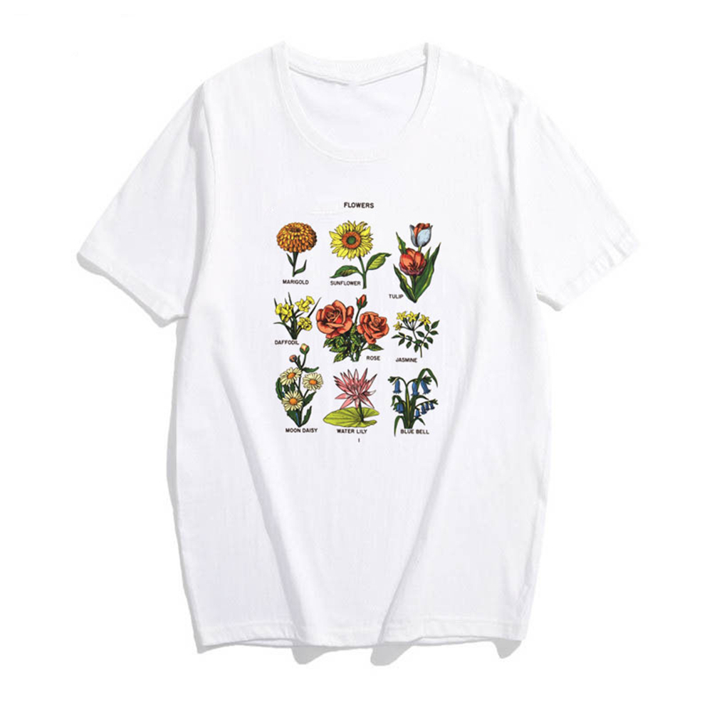 Flower Potted Handwriting Tshirt Women Kawaii Aesthetic Harajuku Vintage Plus Size Short Sleeve Cotton Clothes Tee Shirt Femme