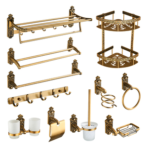 Bathroom Accessories Antique Brass Bathroom Shelf, Towel Ring, Paper Holder, Toilet Brush, Coat Hook, Bath Rack, Soap Dish(China)