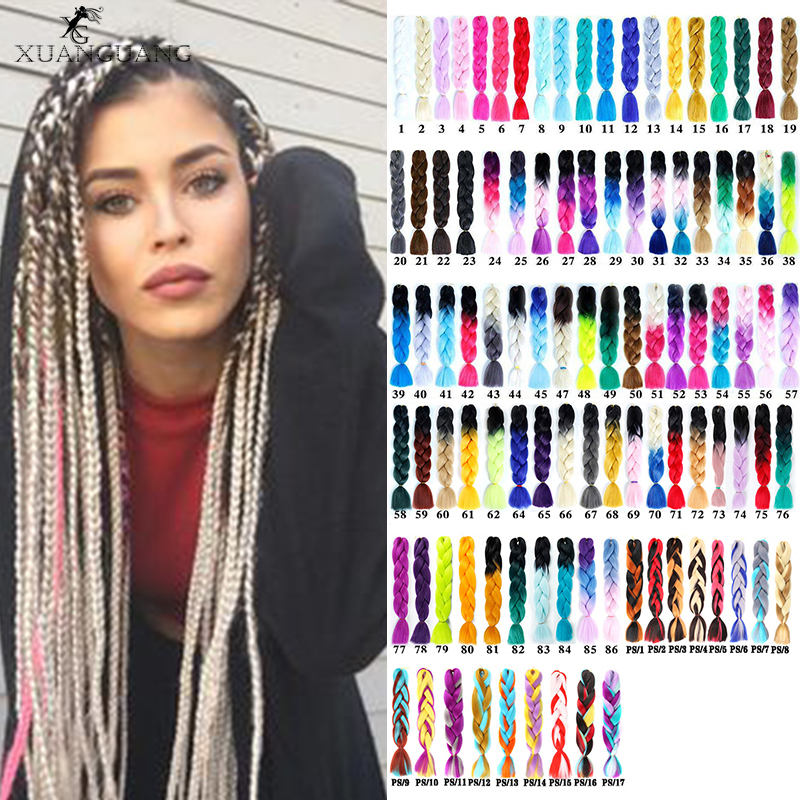 XUANGUANG 24inch Pink Purple Blue Blonde Color Synthetic Jumbo Braids Ombre Braiding Hair For Women Hair Extension