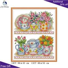 Joy Minggu Vas Di Rak Cross Stitch J470 14CT 11CT Dihitung dan Dicap Restoran Dekorasi Rumah Bordir Cross Stitch kit(China)
