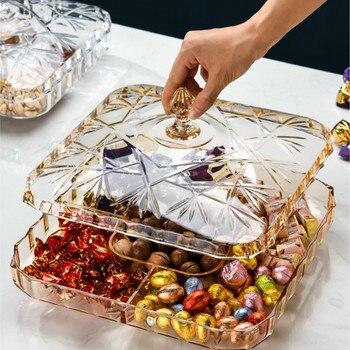 Отсек для сухофруктов в европейском стиле с крышкой, пластиковые прозрачные коробки для конфет для дома и гостиной MJ708