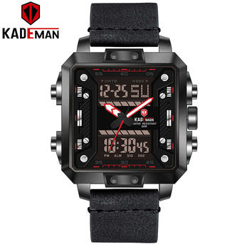 New Luxury Square Watch Men Sports Waterproof Military Wristwatches TOP Brand KADEMAN Dual Movement Casual Leather Watch Relogio carnival new luxury fashion couple watch top brand automatic watch lovers wristwatches dual calendar week sapphire waterproof
