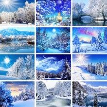 5d diy pintura diamante neve inverno paisagem paisagem completa quadrado/redondo diamante casa decoração presente ponto cruz kit mosaico padrão