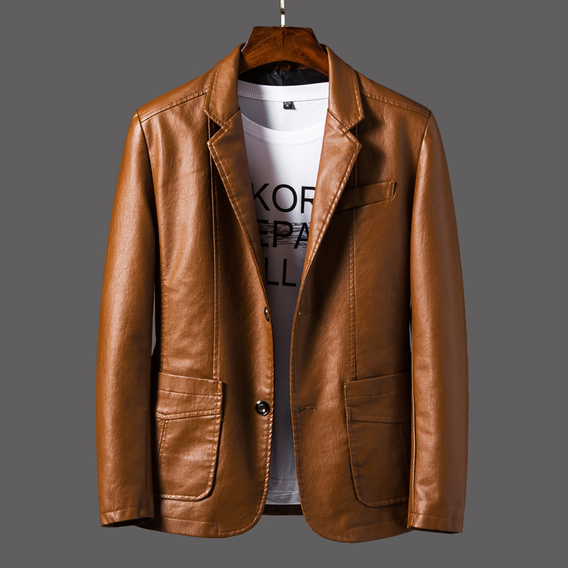 2019 New Smart Casual Blazer Leather Jacket Men Loose Coat Men Korean Slim Baseball Uniform Motorcycle Clothing Leather Jacket