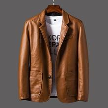 2020 New Smart Suit Leather Jacket Men Spring Autumn Korean Baseball Uniform Motorcycle Clothing Casual Leather Blazer Coats