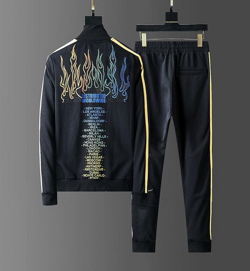2019 Rhinestones Fire Mens Hoody Sportswear Cotton Belt Tracksuits Men Sweatshirts High Street Track Suits Joggers 2 Piece Set