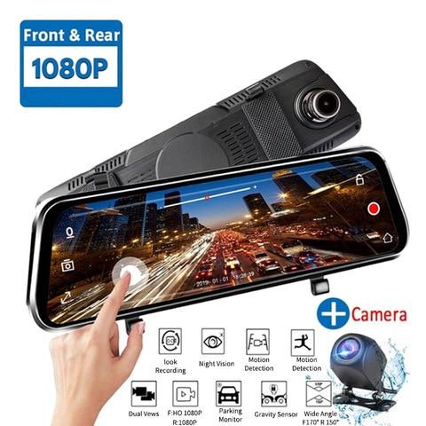 10 polegadas de tela sensivel ao toque do carro fluxo midia traco camera gravador video