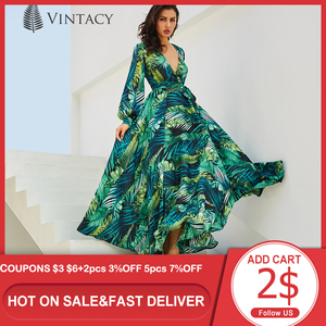 Image 1 - Vintacy ארוך שרוול שמלת ירוק טרופי חוף בציר מקסי שמלות Boho מקרית V צוואר חגורת תחרה עד טוניקה עטוף בתוספת גודל שמלה