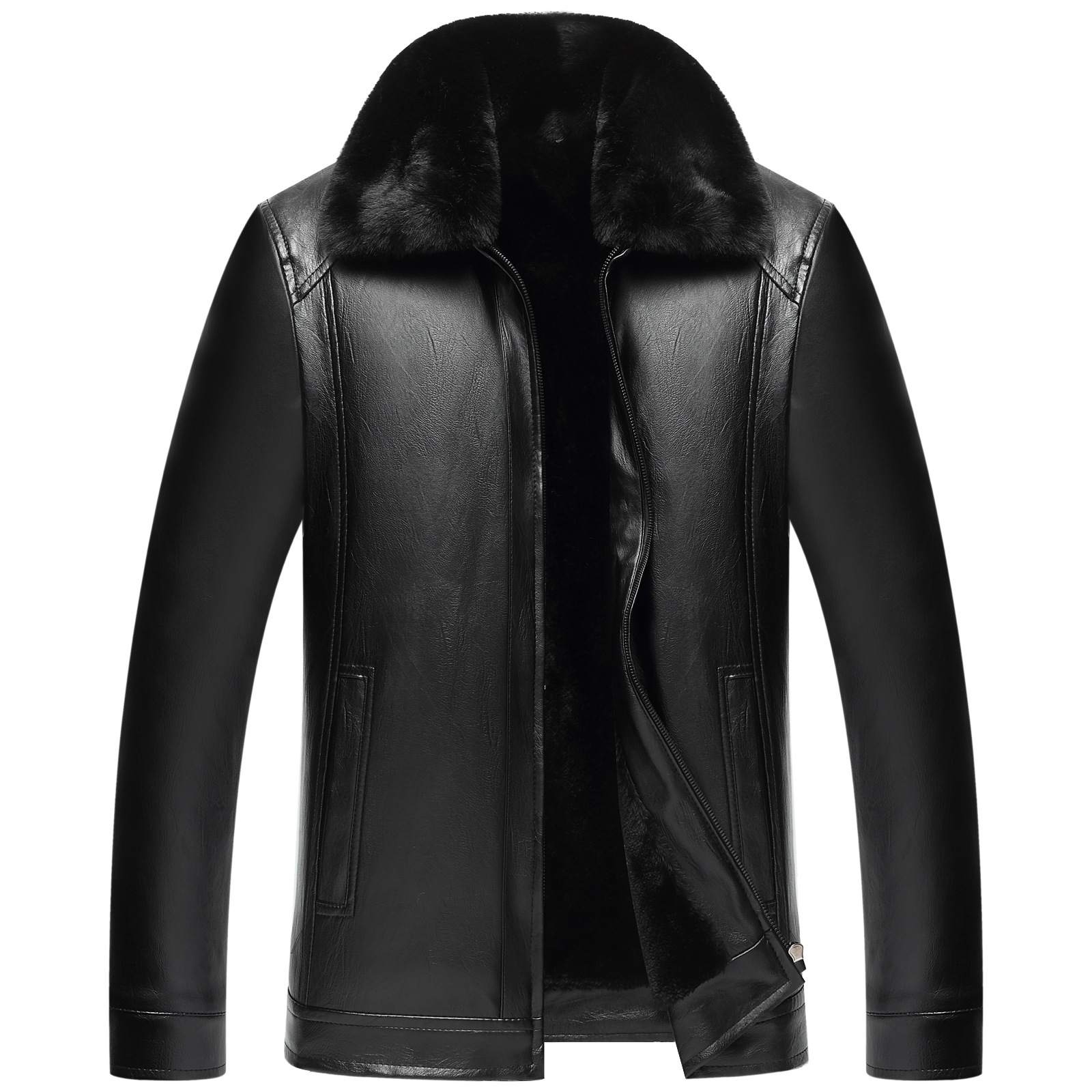 2019 New Style Fur Collar Leather Coat MEN'S Pu Fur MEN'S Outerwear Fold-down Collar Middle-aged Brushed And Thick Leather Jacke