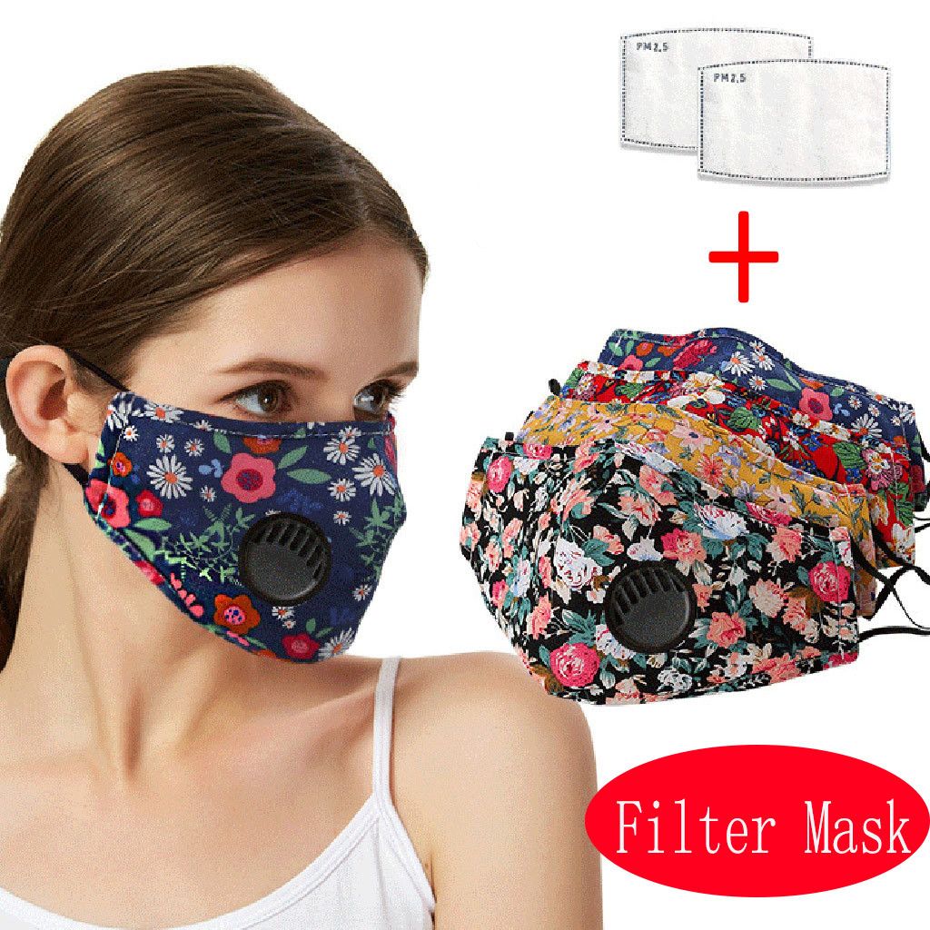Flower Printed Face Mask Activated Carbon Filter Masks Adult Protective PM2.5 Dust Mouth Face Mask Washable Reusable Mouth Mask
