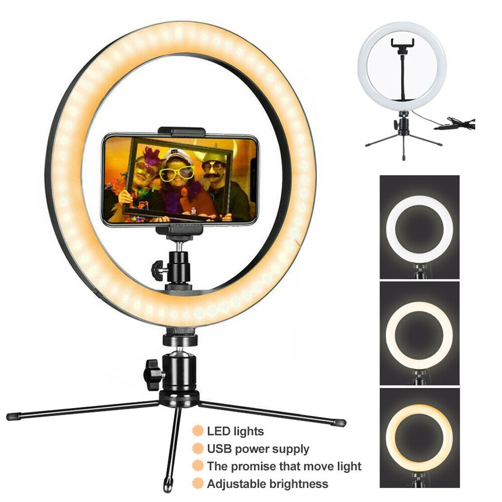 M16 360 Rotation  LED USB Charge LED Selfie Ring Light Dimmable Camera Phone Ring Lamp  Live Lamp Makeup Video Party Vlogging