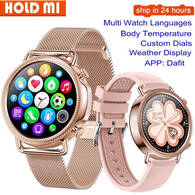 V25 Smart Watch Women Body Temperature Smart Bracelet IP67 Waterproof Blood Pressure VS GW33 V23 Smartwatch Andriod IOS Phone