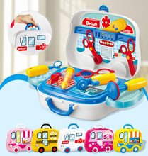 Portable Suitcase Toys Tool Kitchen Cosmetic Medical Kit Children Pretend Play Toys Simulation Make Up/Doctor/Tools/Food Set(China)