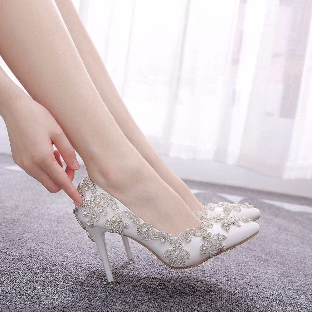 Crystal Queen Women Shoes High Heels Wedding Thin 9CM Heels White Diamond Glittering Evening Bride Shoes Pumps Big Size 43