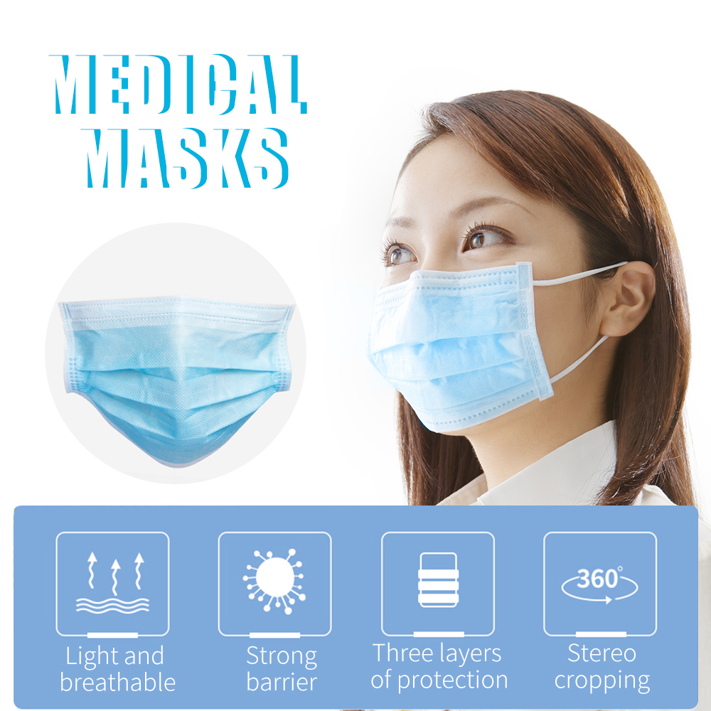 50Pcs Antivirus Disposable Surgical Medical Mask Earloops Masks Virus Nonwove 3 Layer Ply Filter Mouth Face Mask Anti-dust virus 5