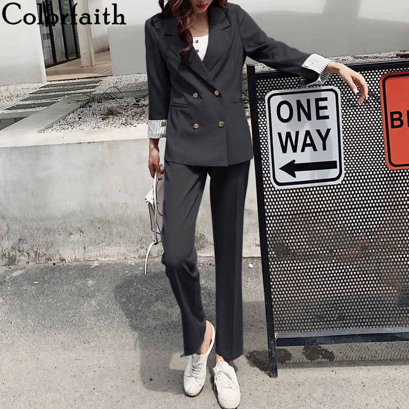 Colorfaith 2020 New Spring Autumn Woman Sets 2 Piece Matching Pants Casual High Elastic Waist Double Breasted Female Suit WS1273