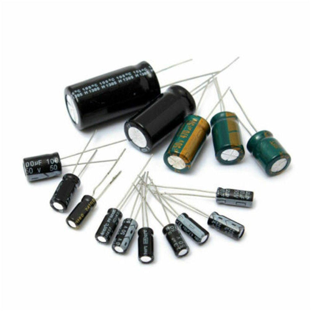 120Pcs/Set Black Aluminum Electrolytic Capacitor Assortment Kit For Electric Circuit Range 0.22μF-470μF 12 Values Each 10pcs