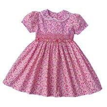 Новые летние детские короткие платья принцессы с цветочным принтом