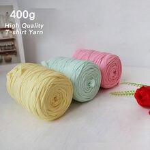 Fil de tissu crocheté en coton épais 400g, pour t-shirt, tricot, couverture, tapis, sac à main, coussin, fils ondulés à la main